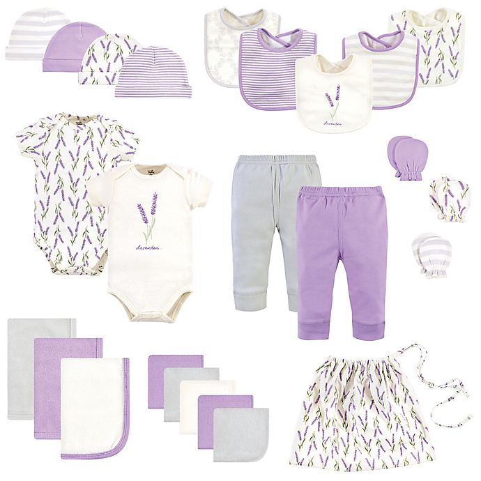 Alternate image 1 for Touched by Nature Size 0-6M 25-Piece Garden Organic Cotton Layette Baby Gift Set in Purple