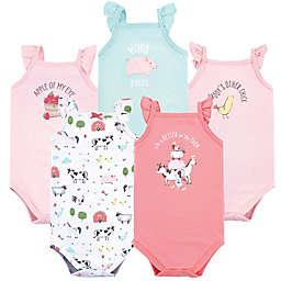 Hudson Baby® Size 9-12M 5-Pack Girl Farm Sleeveless Bodysuits