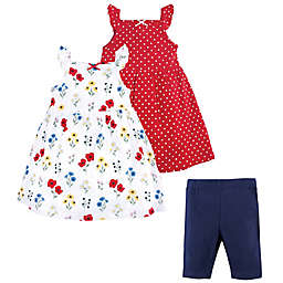 Hudson Baby® 3-Piece Wildflower Dress and Leggings Set in Red