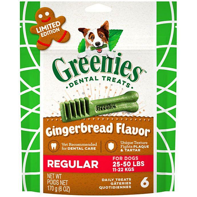 Alternate image 1 for GREENIES™ 6-Count Regular Gingerbread Flavor Dog Dental Treats