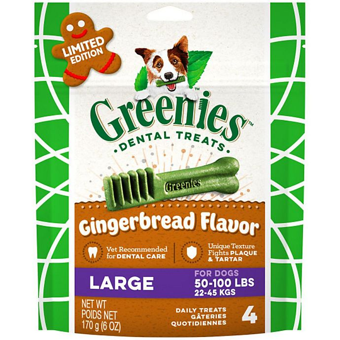 Alternate image 1 for GREENIES™ 4-Count Large Gingerbread Dog Dental Treats