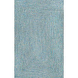 nuLOOM Wynn Braided 7'9 x 9'6 Indoor/Outdoor Area Rug in Aqua