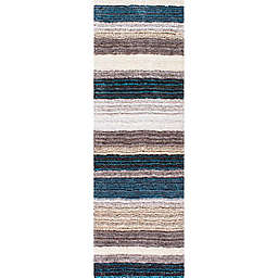 nuLOOM Drey Ombre 3' x 12' Shag Runner in Blue/Multicolor