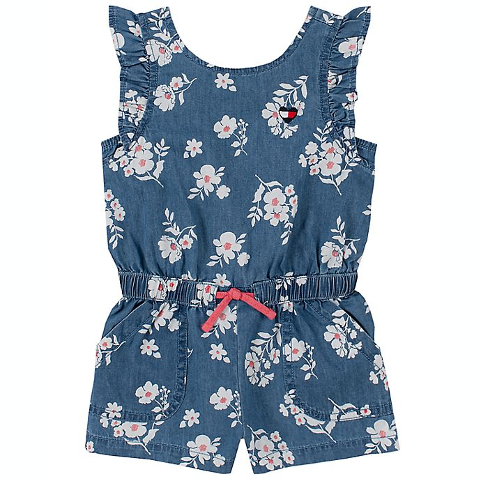 Alternate image 1 for Tommy Hilfiger® Size 12M Denim Floral Short Sleeve Romper in Blue/White