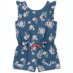Tommy Hilfiger® Denim Floral Short Sleeve Romper in Blue/White