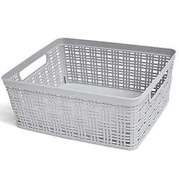 Simply Essential™ Medium Plastic Wicker Storage Basket in Grey