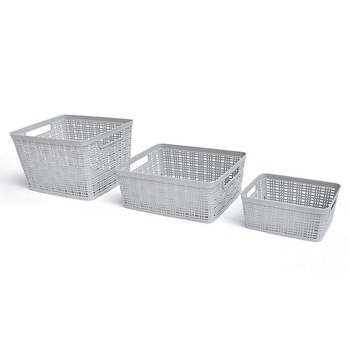 Alternate image 1 for Simply Essential™ Plastic Wicker Storage Basket