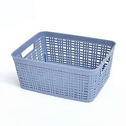 Simply Essential™ Small Plastic Wicker Storage Basket in Tempest Blue