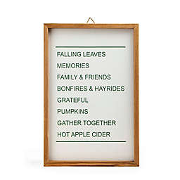 Harvest 14.96-Inch x 10.04-Inch Decorative Fall Sayings Framed Wall Art in White