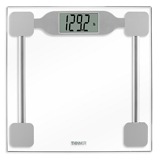 Alternate image 1 for Thinner® by Conair™ Digital Precision Glass Bathroom Scale in Silver