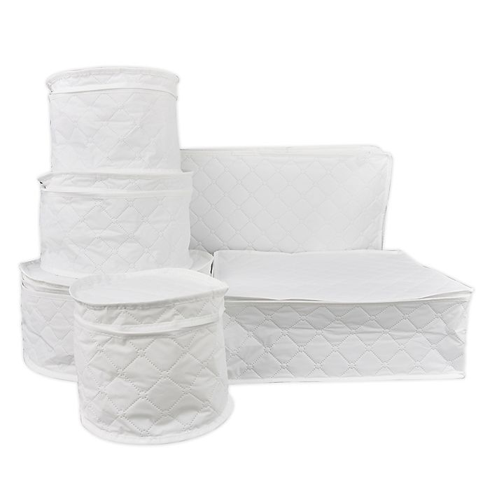 Alternate image 1 for Simply Essential™ 6-Piece Quilted Dinnerware Storage Set in White