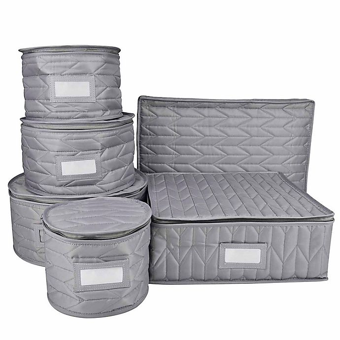 Alternate image 1 for Our Table™ 6-Piece Quilted Dinnerware Storage Set in Grey