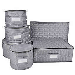 Our Table™ 6-Piece Quilted Dinnerware Storage Set in Grey