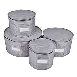 Our Table™ 4-Piece Quilted Plate Storage Set in Grey