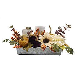 Harvest Floral Hurricane Candle Holder Centerpiece