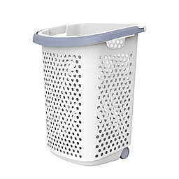 Simply Essential™ Tall Hamper with Wheels in White/Grey