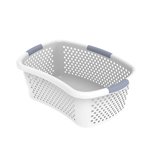 Alternate image 1 for Simply Essential™ Hip Hugger Laundry Basket in White/Grey