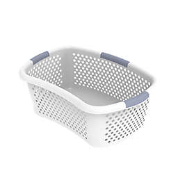 Simply Essential™ Hip Hugger Laundry Basket in White/Grey