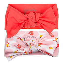 Mac & Moon Size 0-9M 2-Pack Headbands in Coral