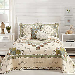 Olivia Quilted Reversible King Bedspread in Green