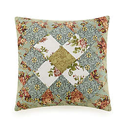 Olivia Patchwork Square Throw Pillow in Green
