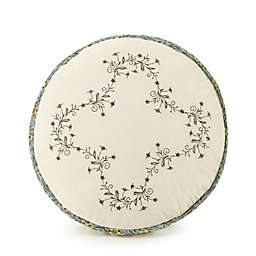 Olivia Embroidered Round Throw Pillow in Green