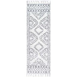 nuLOOM Vasiliki Moroccan Tribal Tassel 3' x 6' Runner in White