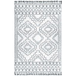 nuLOOM Vasiliki Moroccan Tribal Tassel 8' x 10' Area Rug in White