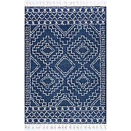 nuLOOM Vasiliki Moroccan Tribal Tassel 5' x 8' Area Rug in Blue