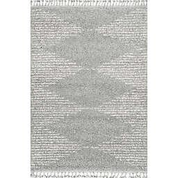 nuLOOM Bria Moroccan Diamond Tassel 2' x 3' Accent Rug in Grey