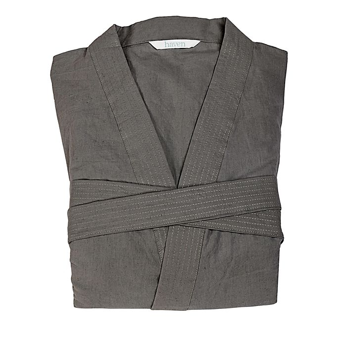 Alternate image 1 for Haven™ Linen Small/Medium Kimono Robe in Gargoyle