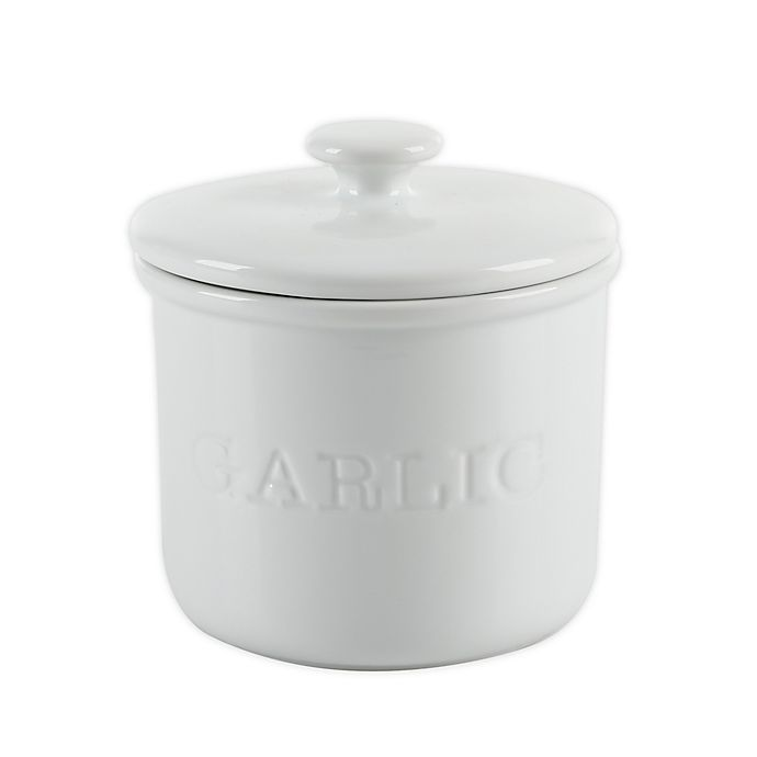 Alternate image 1 for Our Table™ Simply White Words Garlic Keeper