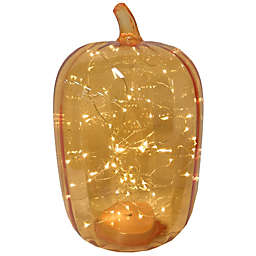Bee & Willow™ 16-Inch LED Glass Pumpkin in Tinsel