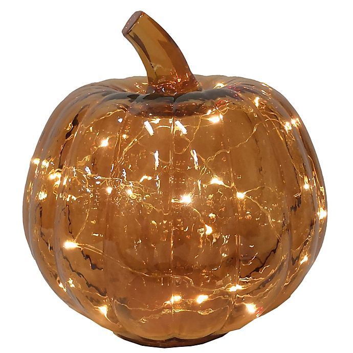 Alternate image 1 for Bee & Willow™ Glass LED-Lit Pumpkin Decoration in Amber