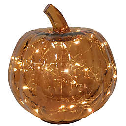 Bee & Willow™ Glass LED-Lit Pumpkin Decoration in Amber