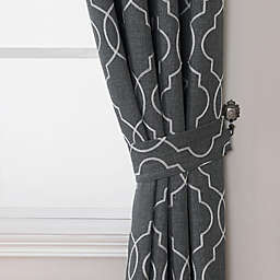 Brent Embroidered Window Curtain Tie Backs in Charcoal/White (Set of 2)