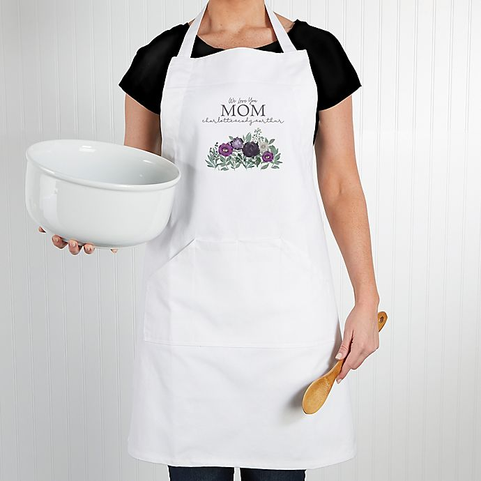 Alternate image 1 for Floral Love For Mom Apron in White