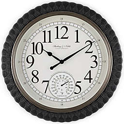 Sterling & Noble™ Woven Rattan 20-Inch Outdoor Wall Clock/Weather Station