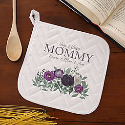 Floral Love For Mom Potholder in White
