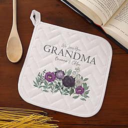 Floral Love For Grandma Potholder in White