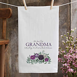 Floral Love For Grandma Tea Towel in White