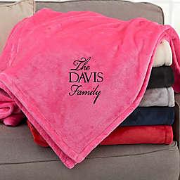 Elegant Family Personalized Pink Fleece Blanket