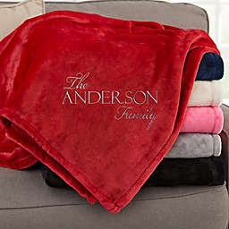 Elegant Family Personalized Red Fleece Blanket