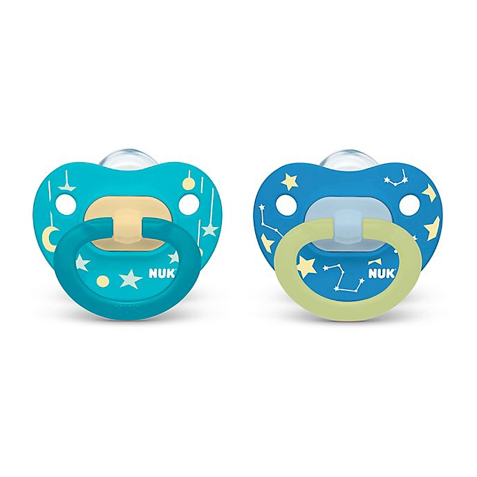 Alternate image 1 for NUK® Glow-in-the-Dark 0-6M 2-Pack Dino Orthodontic Pacifiers in Blue