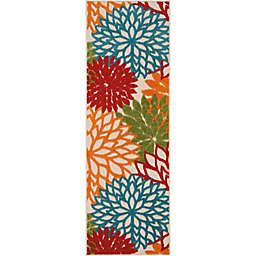 Nourison™ Aloha Floral Burst 2' x 6' Indoor/Outdoor Runner in Green