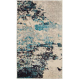 Nourison Celestial Abstract 2'2 x 3'9 Accent Rug in Ivory/Teal