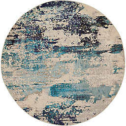 Nourison Celestial Abstract 5' Round Area Rug in Ivory/Teal