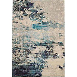 Nourison Celestial Abstract 6'7 x 9'7 Area Rug in Ivory/Teal