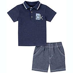 Calvin Klein® 2-Piece Polo Shirt and Short Set in Navy/Blue