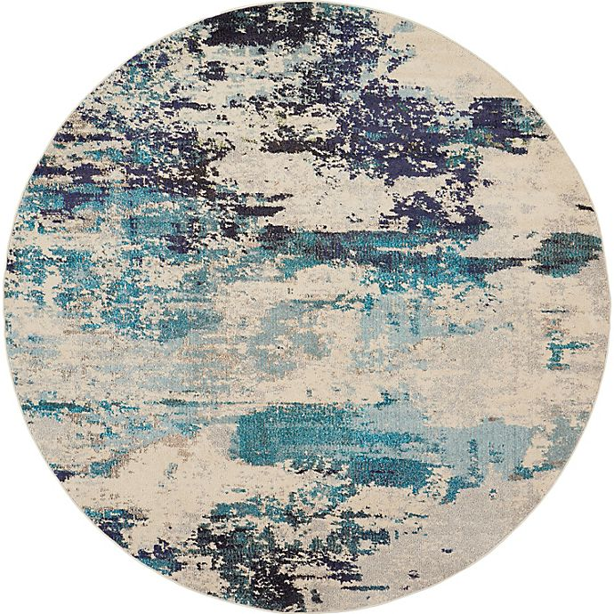 Alternate image 1 for Nourison Celestial Abstract 7'10 Round Area Rug in Ivory/Teal